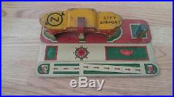 1930s Marx City Airport Tin Litho Toy Airplane Play Set Original Trans-american