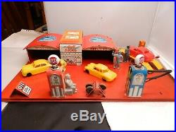 1930s Marx Electric Lighted Gull Service Station Gas And Oil Tin Litho Playset