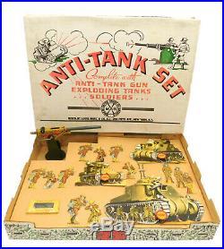 1940's MARX ANTI-TANK PLAY SET COMPLETE IN BOX EXPLODING TANKS TARGETS GUN AMMO