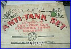 1940's MARX ANTI-TANK PLAY SET WITH BOX EXPLODING TANKS TARGETS AMMO AND GUN