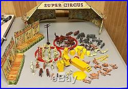 1950's Marx Super Circus Playset Tin Litho Big Top Tent And Accessories
