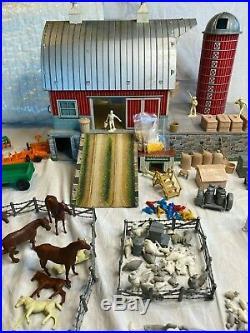 1950's Marx Large Platform Farm Set Playset NO BOX 220 Pieces