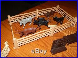 1950's Marx Roy Rogers Rodeo Ranch Playset #3985 WithRare White Cabin & Orig. Box