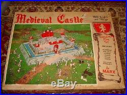 1950s MARX MEDIEVAL CASTLE PLAYSET With FIGURES BASE & ORIGINAL BOX #4707