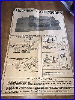 1952 Early Marx Fort Apache Stockade Play Set #3612 withTin Litho Cabin & Box