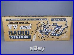 1955 MARX RADIO & TV Station Playset Complete Great Box