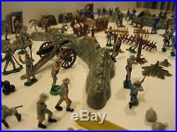 1960's Marx Miniature Blue & Gray Playset + Box 120+ pieces Original Fine+ NR