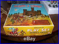 1960's Marx Toys Miniature Play Set Knights & Vikings in original box Hong Kong
