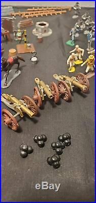 1960's Vintage 80 Pieces Marx Miniature Border Battle Playset Alamo Lot RARE