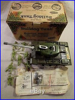 1960's boxed remco bulldog battery operated tank army soldiers monkey div marx