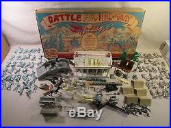 1960's marx boxed playset battleground civil war battle of blue and gray army