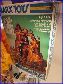 1960's marx boxed playset comanche pass mountain wagon troopers indians teepee