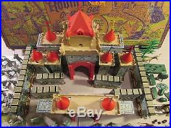 1960's marx playset boxed 60mm robin hood tall wall castle knight horses flags