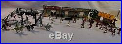 1960's marx playset tin western town small cabin wells fargo cowboys indians