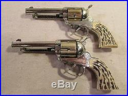 1960's playset mattel shooting shell pair of colt 45's with holster marx