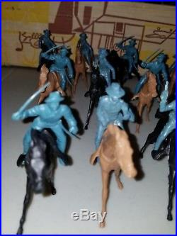 1960s Marx Giant Fort Apache Playset Long Coats Cavalry Steel Blue Set 18 #6063