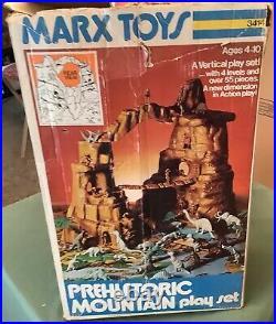 1975 Marx Prehistoric Mountain Play Set + Box Original