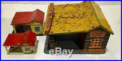 3 Vintage Marx Service Gas Station Buildings