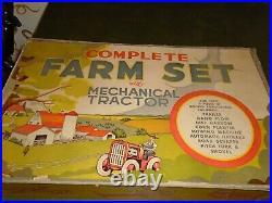 Antique TIN Windup Tractor Farm Set in NMIB (1930's)