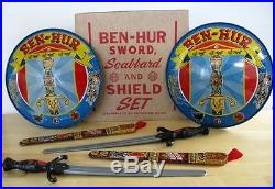 BEN-HUR VINTAGE SWORD SCABBARD & SHIELD SET MARX TOYS 1959 with BOX