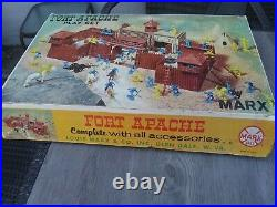COMPLETE! & WithBOX & DIRECTIONS ORIGINAL1964 MARX Fort Apache Playset 3681