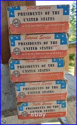 Complete Set of Vtg 1950's Marx Presidents of the United States 1-5