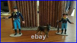 Custom painted Marx figures Rin Tin Tin, Rip Masters & Rusty with Ft Apache gate