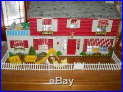 Early 1950's Marx Modern Colonial Doll House With Furniture, People, Box 99.9%