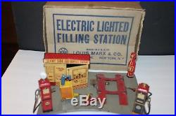 Early Marx 1930's Tin ELECTRIC LIGHTED FILLING Service Station- Nice! In BOX