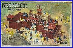 FORT APACHE Play Set LOUIS MARX TOYS in Box Cowboys Indians 81 Pieces