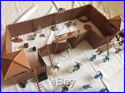 Fort Apache Playset MARX Vintage Cowboys and Indian Collection Toys With Xtra Pc