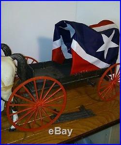 GIANT Marx Wagon Train Horses brown wagon