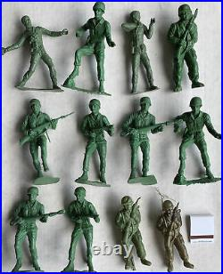 HUGE LOT 1950s MPC / MARX US ARMY-CAMP CASE COMBAT SOLDIERS TANKS TRUCKS CHOPPER