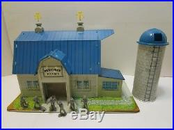 Huge Vintage Marx Blue Roof Barn Farm Play Set