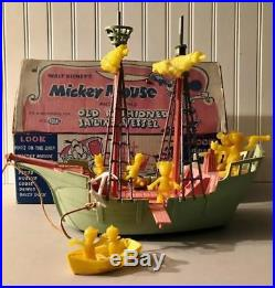 Ideal 1956 Pirate Ship Disney Disneyland Mickey Mouse Donald Duck withBox