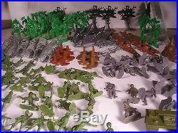 Large Vintage Marx Playset War Over 150 Pieces German Soliders, Play Mat ++++