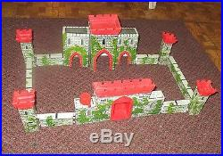 Louis Marx Medieval Castle Fort Playset rare withknights horses warriors 1956