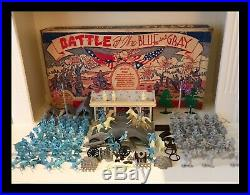 MARX BATTLE OF THE BLUE & GRAY PLAY SET- 1959 No. 4760 98% COMPLETE IN BOX