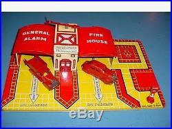 MARX One General Alarm Fire House 1938 TIN STATION With 2 CARS withBox -4Train set