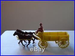 MARX Orig. Johnny Ringo, Wagon Train Yellow Play set Wagon, Hitch, Horses Ex