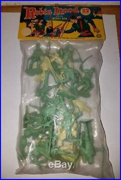 MARX Robin Hood and his Merry Men header bag playset 54mm 1957 Not MPC RARE