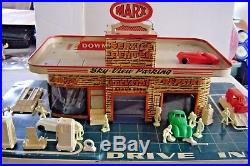 MARX SKY VIEW PARKING -SERVICE CENTER Gas Station Tin Litho with accessories
