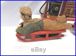 Marx Toys Lighted Gas Pump Station Prewar Boy Sled Turn Over Wind Up Tank Good