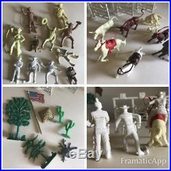 MARX Vintage Lone Ranger Rodeo Play Set withBox 60mm White Vinyl Character Figures