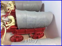 MARX Wagon Train Set Whip Cowboys Indians 1957-1961 Red Teepee Seth Adams 54 mm