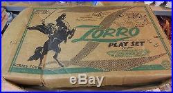 MARX ZORRO WESTERN TOWN PLAY SET #3753 ORG BOX 1950S