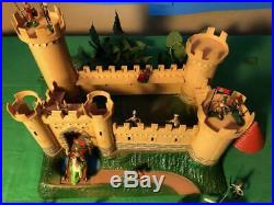 MARX miniature 1-inch knights with castle playset 1960s