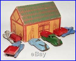 Marx 1934 Spic and Span Garage Playset MUSEUM QUALITY pressed steel cars tin