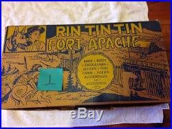 Marx 1950's Rin Tin Tin Fort Apache Complete Great Condition Rusty, Rinty, Rip