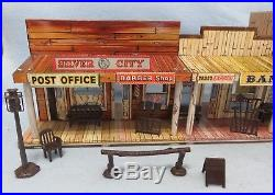 Marx 1950's two level Western Town building, Silver City with furniture + Acc's
